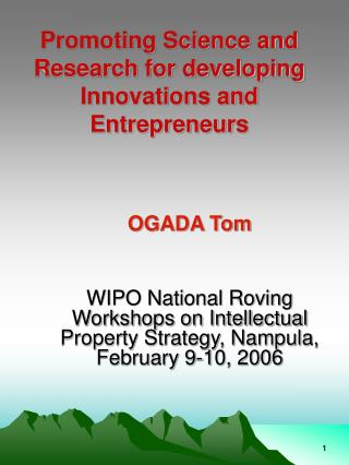 Promoting Science and Research for developing Innovations and Entrepreneurs
