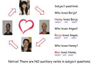 Subject questions. Who loves  Borja ? Henny  loves  Borja . subject       verb        object