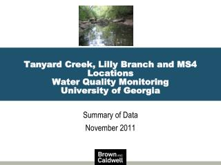 Tanyard Creek, Lilly Branch and MS4 Locations Water Quality Monitoring University of Georgia
