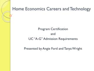 Home Economics Careers and Technology