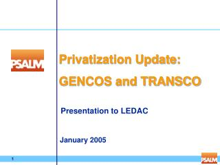 Privatization Update: GENCOS and TRANSCO