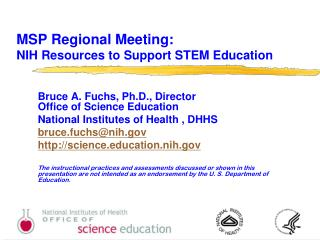 MSP Regional Meeting: NIH Resources to Support STEM Education