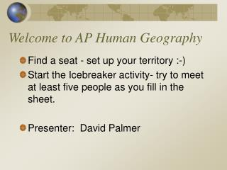 Welcome to AP Human Geography