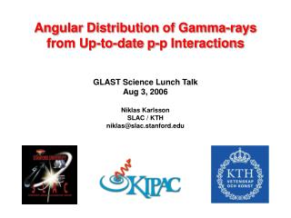 Angular Distribution of Gamma-rays from Up-to-date p-p Interactions