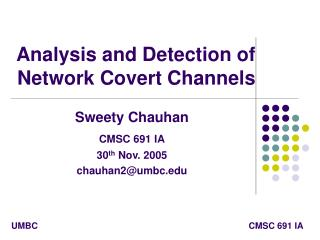 Analysis and Detection of Network Covert Channels