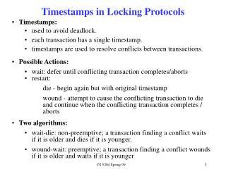 Timestamps in Locking Protocols
