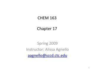 CHEM 163 Chapter 17