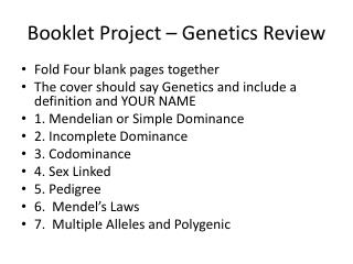Booklet Project – Genetics Review