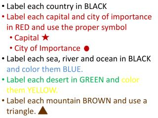 Label each country in BLACK