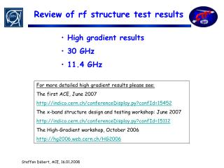 Review of rf structure test results