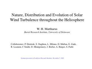 Seminar presented at Southwest Research Institute, December 5, 2003
