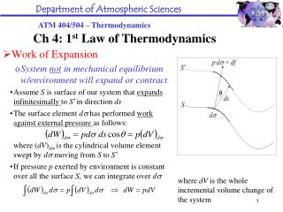 Work of Expansion System  not  in mechanical equilibrium w/environment will expand or contract