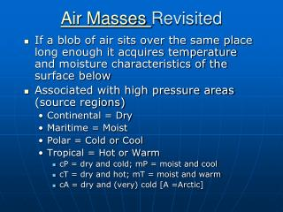 Air Masses  Revisited