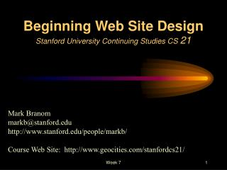 Beginning Web Site Design Stanford University Continuing Studies CS  21