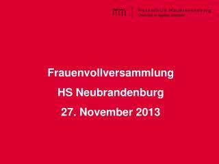Frauenvollversammlung HS Neubrandenburg  27. November 2013