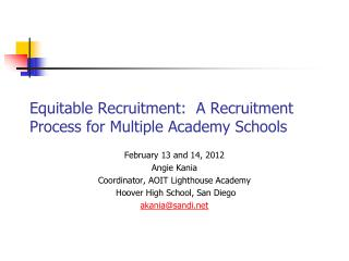 Equitable Recruitment:  A Recruitment Process for Multiple Academy Schools