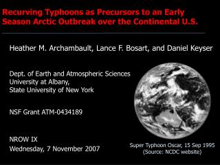 Recurving Typhoons as Precursors to an Early Season Arctic Outbreak over the Continental U.S.
