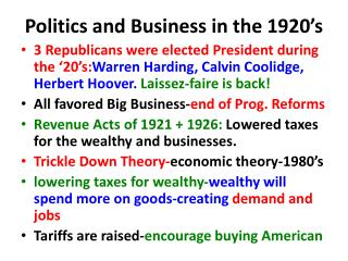 Politics and Business in the 1920's