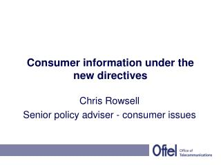 Consumer information under the new directives