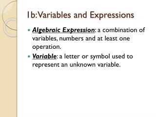 1b: Variables and Expressions
