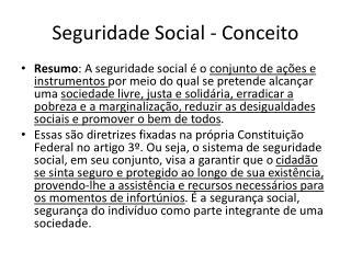 Seguridade Social - Conceito