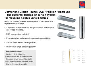 Design air curtains intended for exclusive shop entrances with high demands on design.