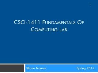 CSCI-1411 F undamentals  o f  C omputing  L ab