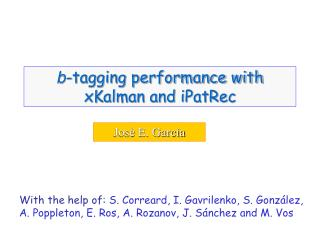 b -tagging performance with xKalman and iPatRec