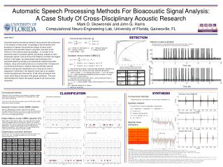Automatic Speech Processing Methods For Bioacoustic Signal Analysis: