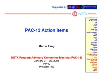 PAC-13 Action Items