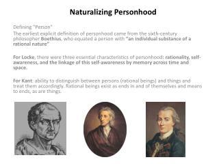 Naturalizing Personhood