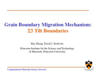 Grain Boundary Migration Mechanism: S5  Tilt Boundaries