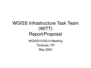WGISS Infrastructure Task Team (WITT) Report/Proposal