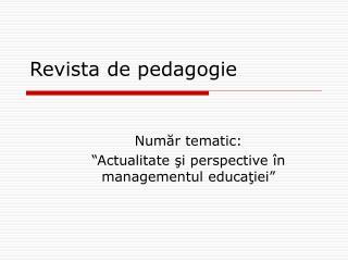 Revista de pedagogie