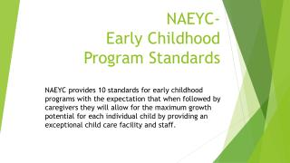 NAEYC-  Early Childhood  Program Standards