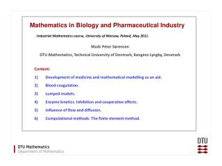 Content: Development of medicine and mathematical modelling as an aid. Blood  c oagulation.