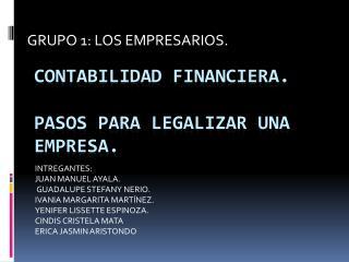 Contabilidad financiera. PASOS PARA LEGALIZAR UNA EMPRESA.