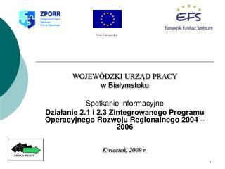 WOJEWÓDZKI URZĄD PRACY w Białymstoku Spotkanie informacyjne