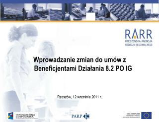 Wprowadzanie zmian do umów z Beneficjentami Działania 8.2 PO IG Rzeszów, 12 września 2011 r.