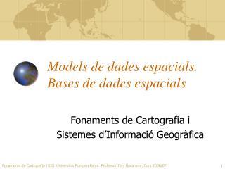 Models de dades espacials. Bases de dades espacials