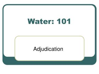 Water: 101