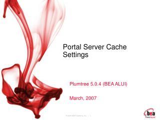 Portal Server Cache Settings