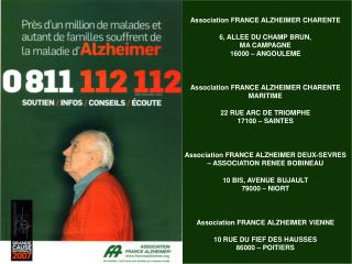 Association FRANCE ALZHEIMER CHARENTE 6, ALLEE DU CHAMP BRUN, MA CAMPAGNE 16000 – ANGOULEME