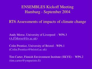 ENSEMBLES Kickoff Meeting  Hamburg - September 2004  RT6 Assessments of impacts of climate change