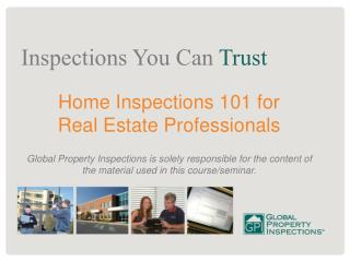 Home Inspections 101 for  Real Estate Professionals