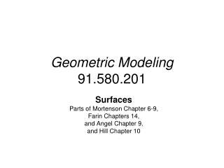 Geometric Modeling 91.580.201