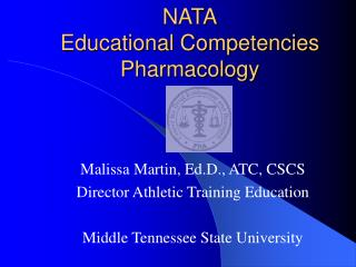 NATA Educational Competencies Pharmacology
