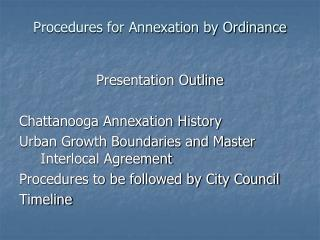 Procedures for Annexation by Ordinance