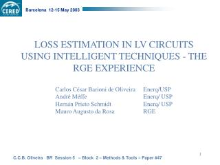 LOSS ESTIMATION IN LV CIRCUITS USING INTELLIGENT TECHNIQUES - THE RGE EXPERIENCE