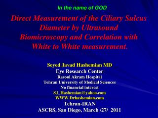 Seyed Javad Hashemian  MD  Eye Research Center  Rasoul Akram  Hospital